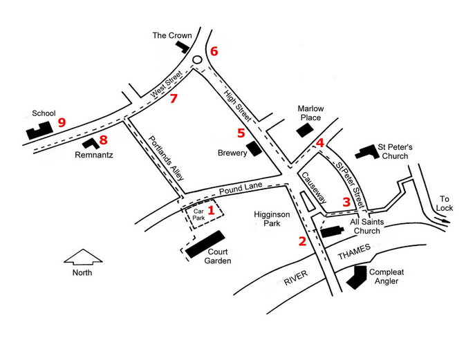 Marlow Town Tour map
