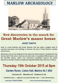 MAS talk Great Marlow Manor House