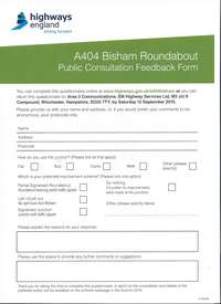 A404 Bisham Roundabout Form